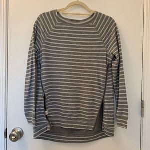 Lou & Grey White/Gray Striped Sweater with Zippers